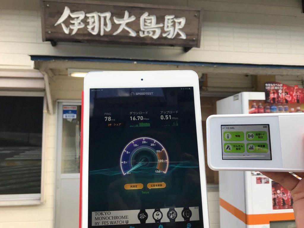 長野県下伊那郡松川町伊那大島駅で計測