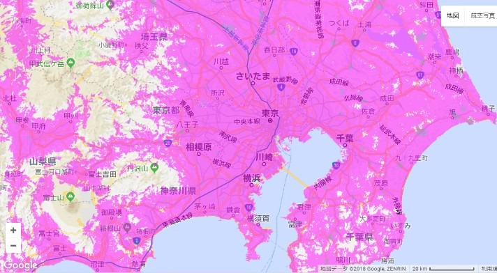 WiMAX2+エリア(東京)